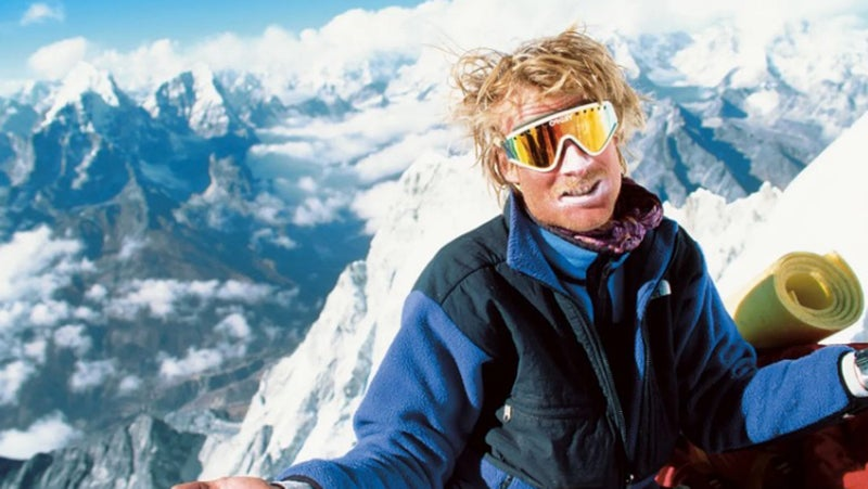 Conrad Anker wearing the North Face Denali fleece during a winter ascent of Ama Dablam in 1990.
