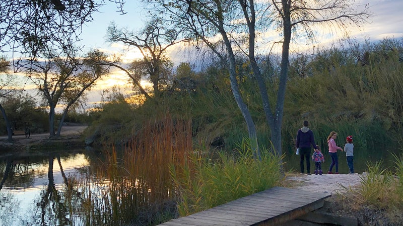 Sunset at the Tanque Verde Ranch fishing pond, in Tucson, Arizona