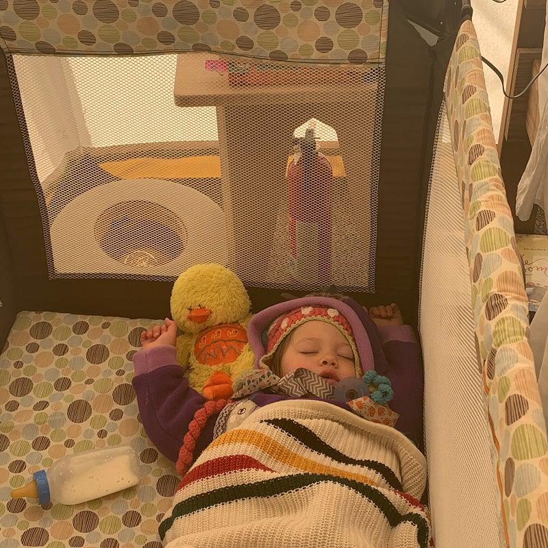 Zevi in her crib