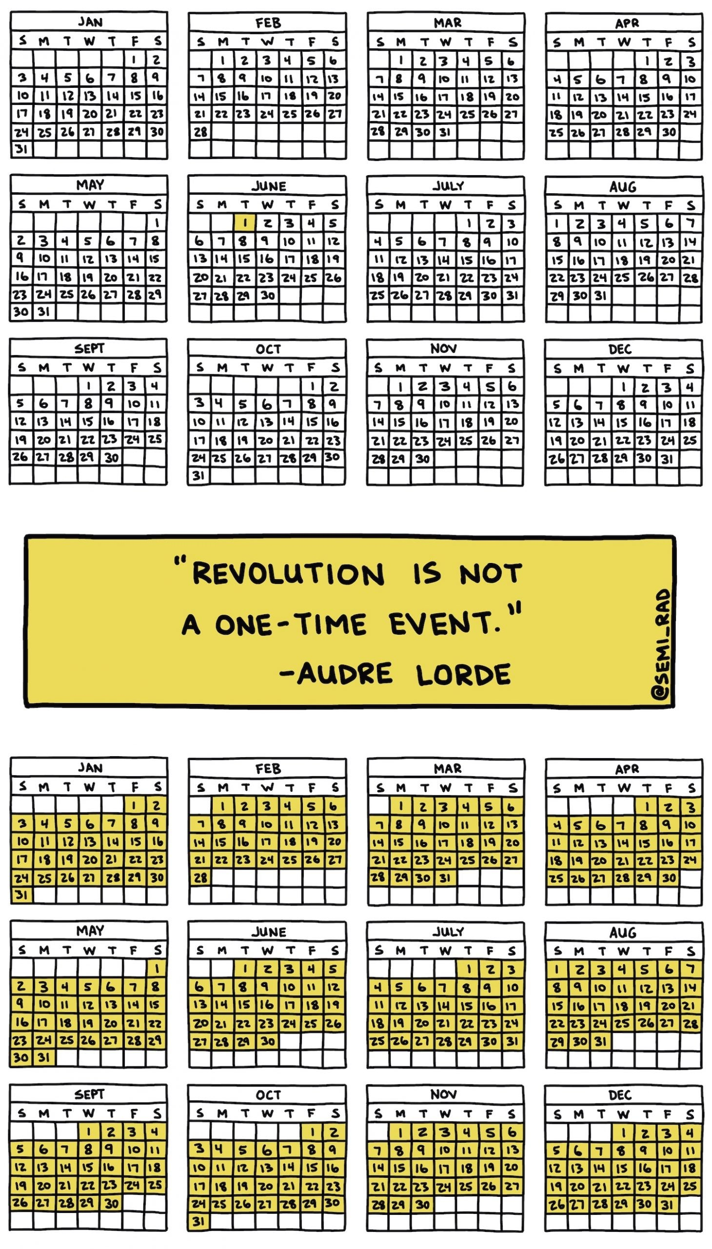 many calendars that show action should be everyday not just one, with an Audre Lorde quote
