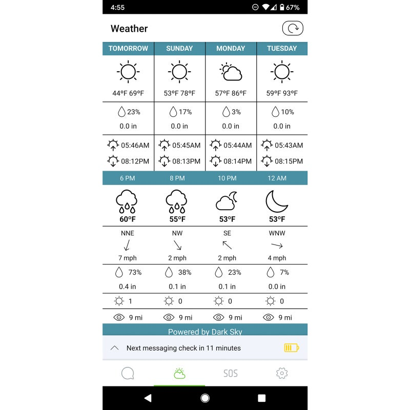 Both devices have location-specific weather forecasting. Here is the screenshot from the Zoleo app.