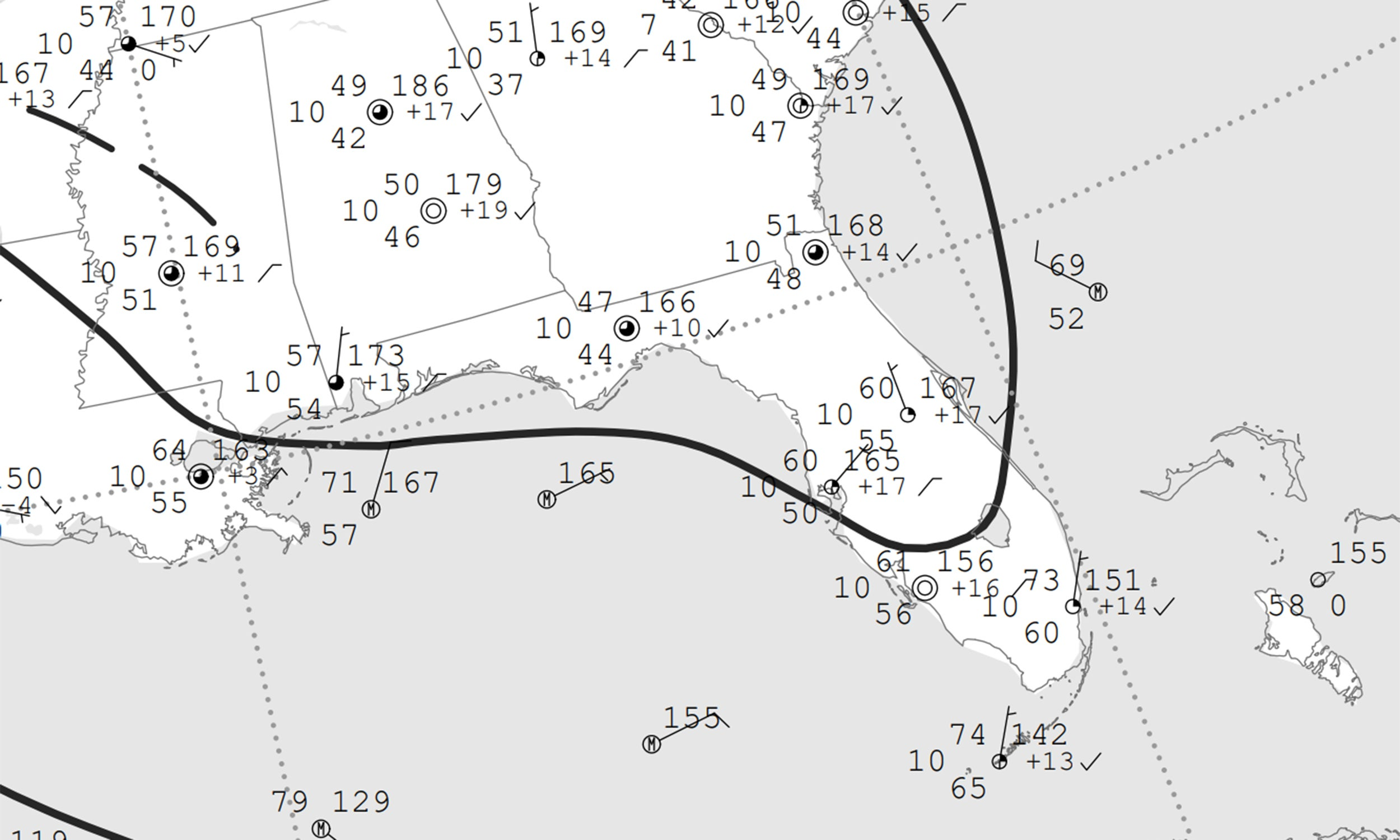 Station plots over the southeastern United States on April 3, 2020