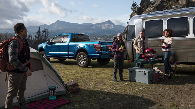 Towing is thirsty work, but with a 47 horsepower electric motor and 36-gallon fuel tank, the F-150 can manage up to 700 miles between gas stations.