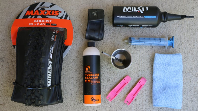 Here are all the tools you'll need, except for the floor pump (which was hard to fit in the photo).