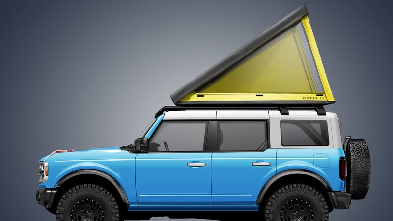 This image is obviously a render, since the new Bronco won't be in dealers until next spring. But, the overall proportions shown here should be accurate, and the SuperLite 50 will be the only hardshell rooftop tent you can safely run on the vehicle.