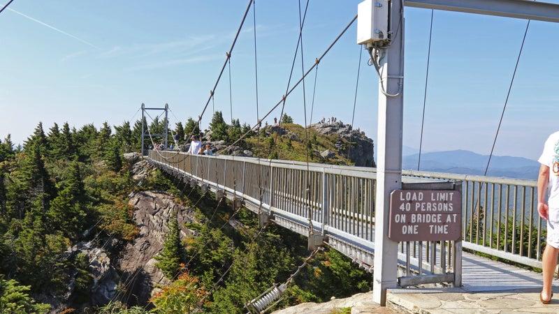 The Mile High Swinging Bridge at the top of Grandfather Mountain, North Carolina, USA