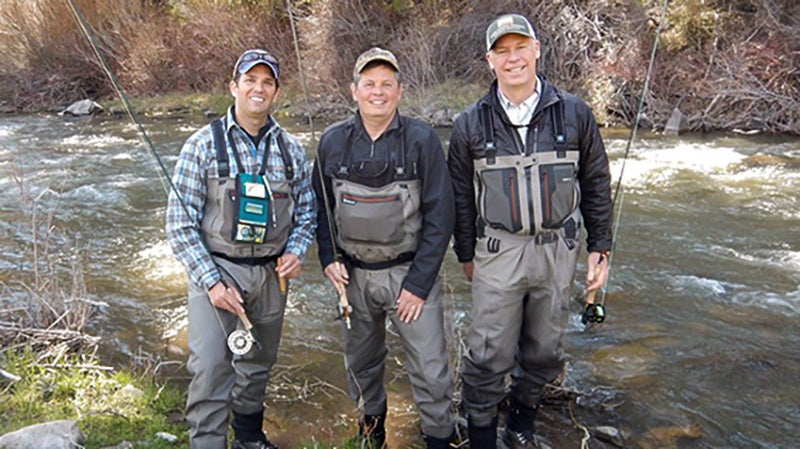 Steve Daines (center) posing with Donald Trump Jr. (left) and Greg Gianforte (right). A candidate for Montana governor, Gianforte is notorious for suing the state to block fishing access for the public near his home.