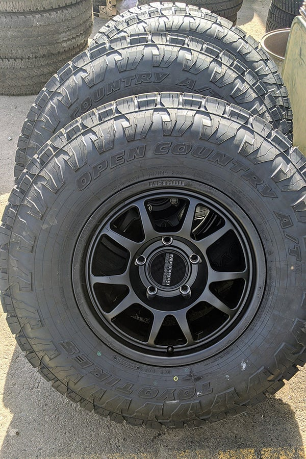 These are the Method 702 wheels and 34-inch Toyo Open Country A/T III tires I'd originally planned to run. The Toyos compete very closely with Falkens to be the mostest all-terrain tire out there. I ended up running the A/T III's simply because they were a little lighter in my chosen size.