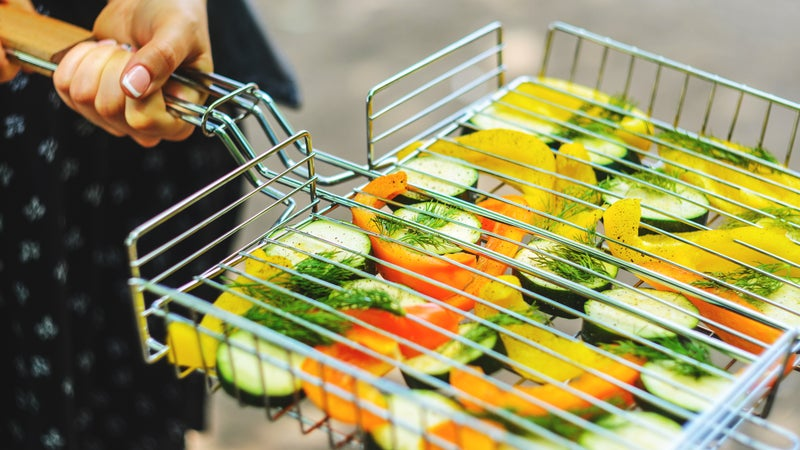 Grill lattice with vegetables before roasting
