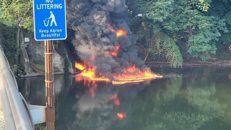 Fuel spilled by a tanker burns in the Cuyahoga River on August 25th.