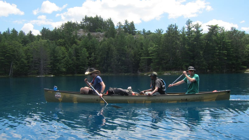 An 18.5-foot canoe easily holds three adults and their gear. This is the Swift Keewaydin 18.6.