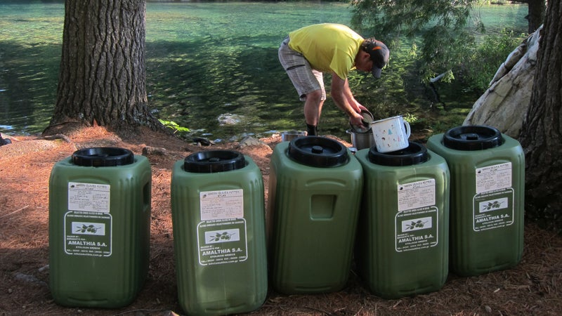 At camp, olive tubs make it easy to keep food organized, even on long trips.