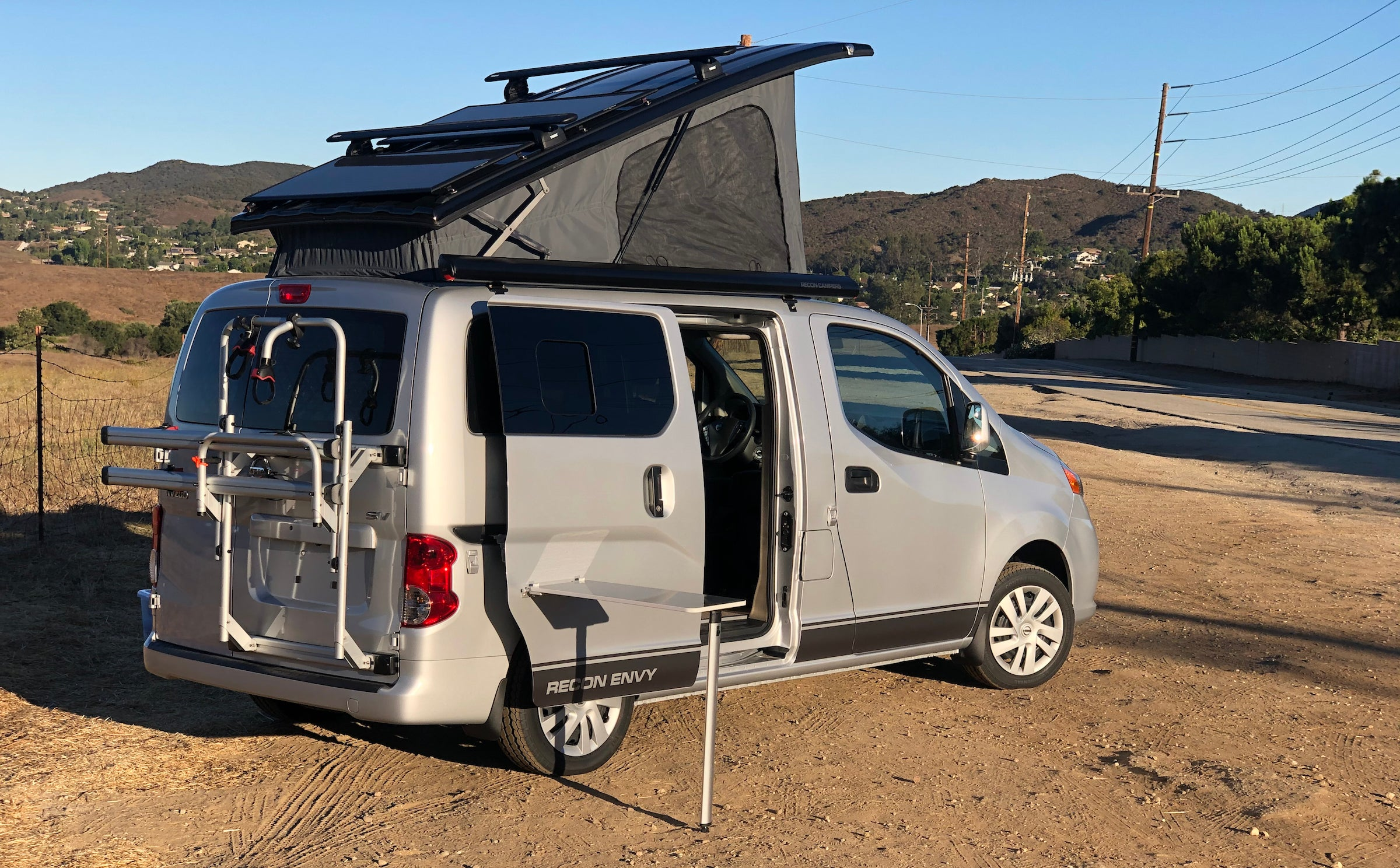 The van's pop-up sleeper and pullout table
