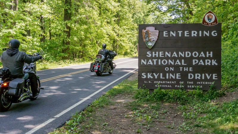 Shenandoah Entry Sign with Motorcycles