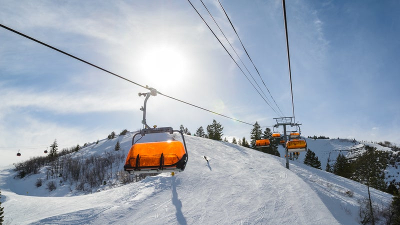 Riding Chairlift in Winter