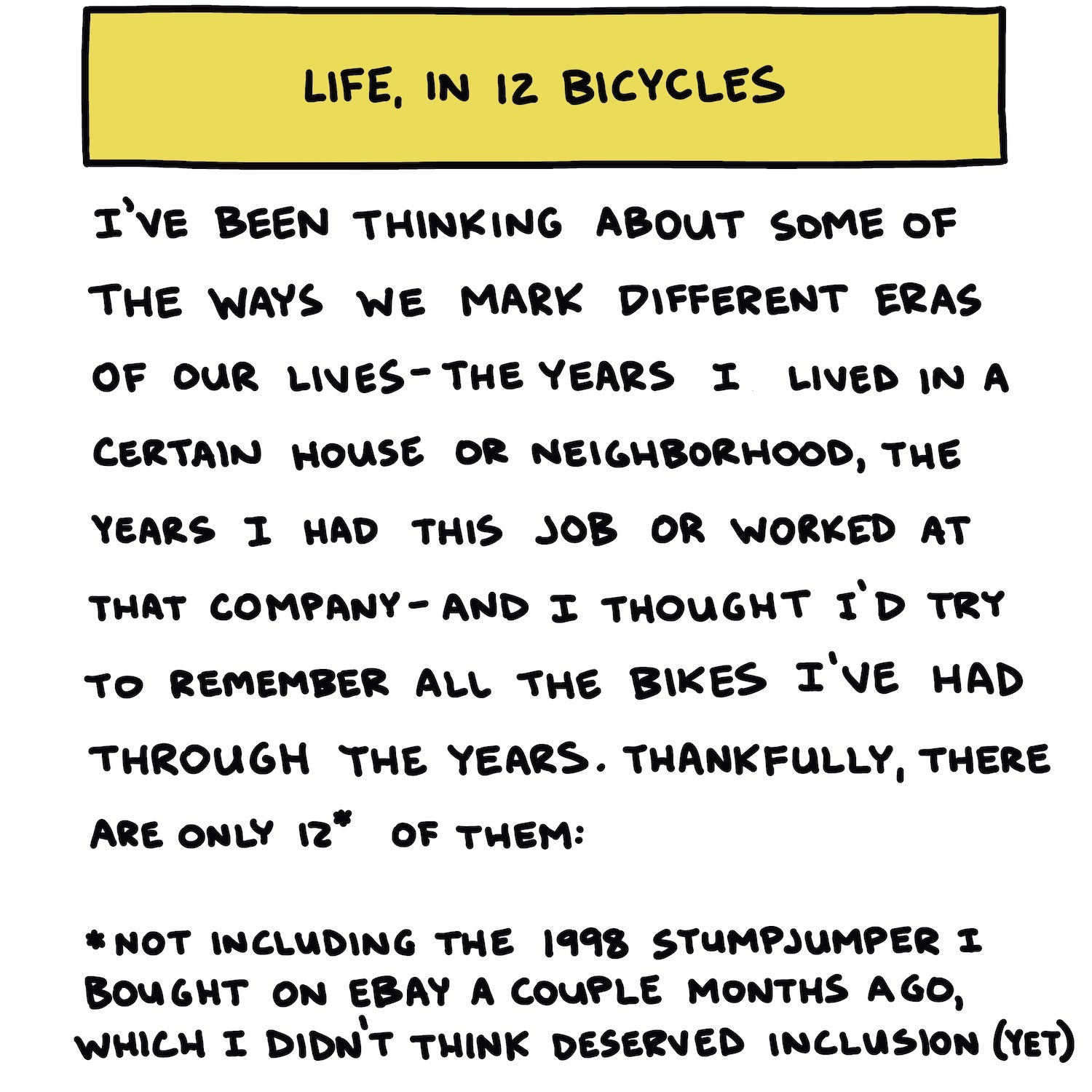 Life In 12 Bicycles Title Slide