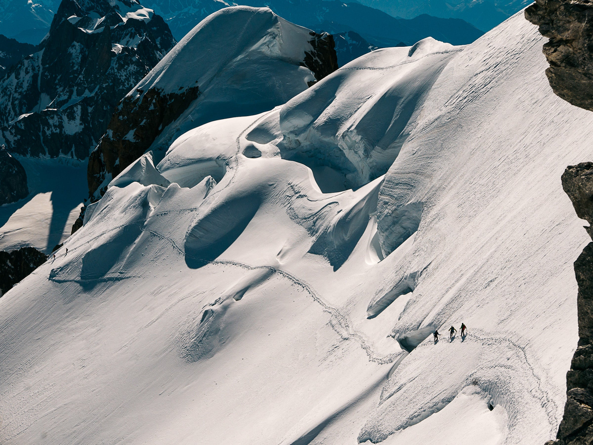 The Trois Monts route up Mont Blanc. Climbing routes like this one are changing as glaciers melt, crevasses widen, and ice towers collapse.