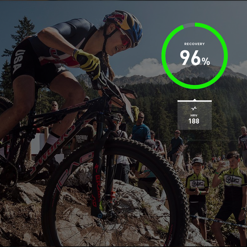 On the day she won the 2018 mountain bike world championships, Kate Courtney had her highest HRV ever and a WHOOP recovery of 96%.
