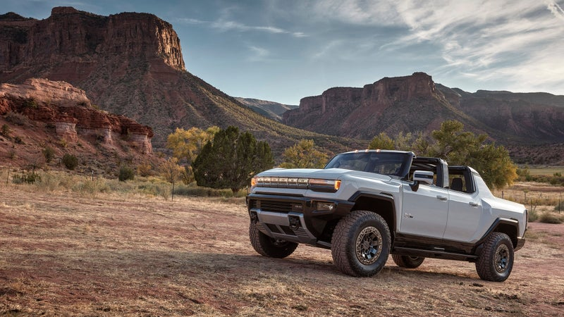 """With a prominent Hummer badge across the backlit """"grill"""" there's no mistaking who makes this truck."""