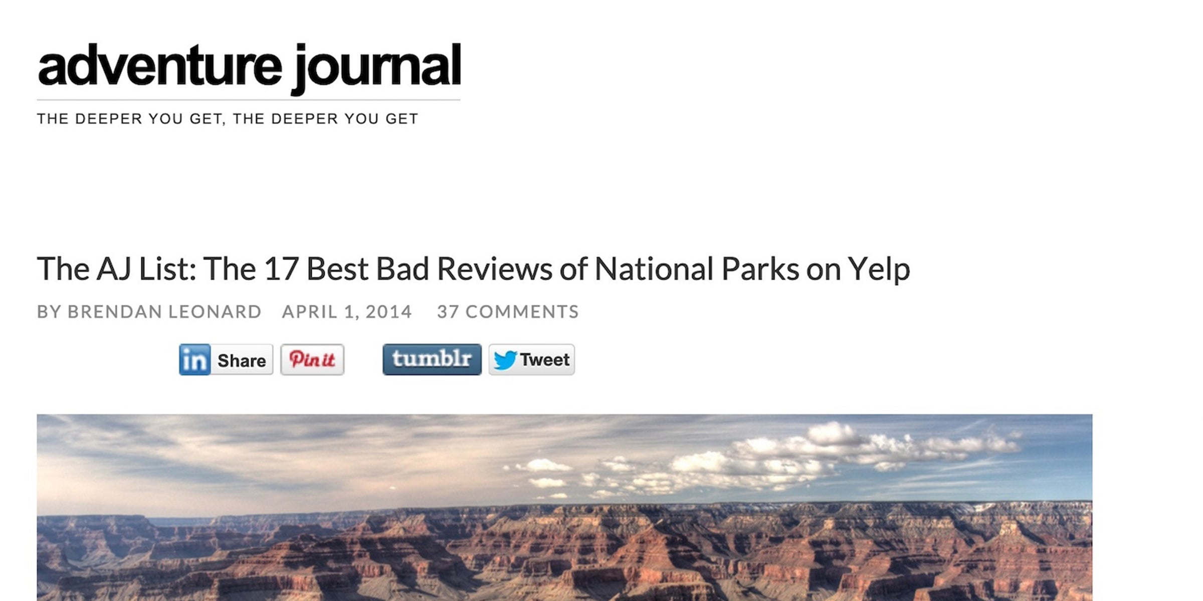 The AJ List: The 17 Best Bad Reviews of National Parks on Yelp