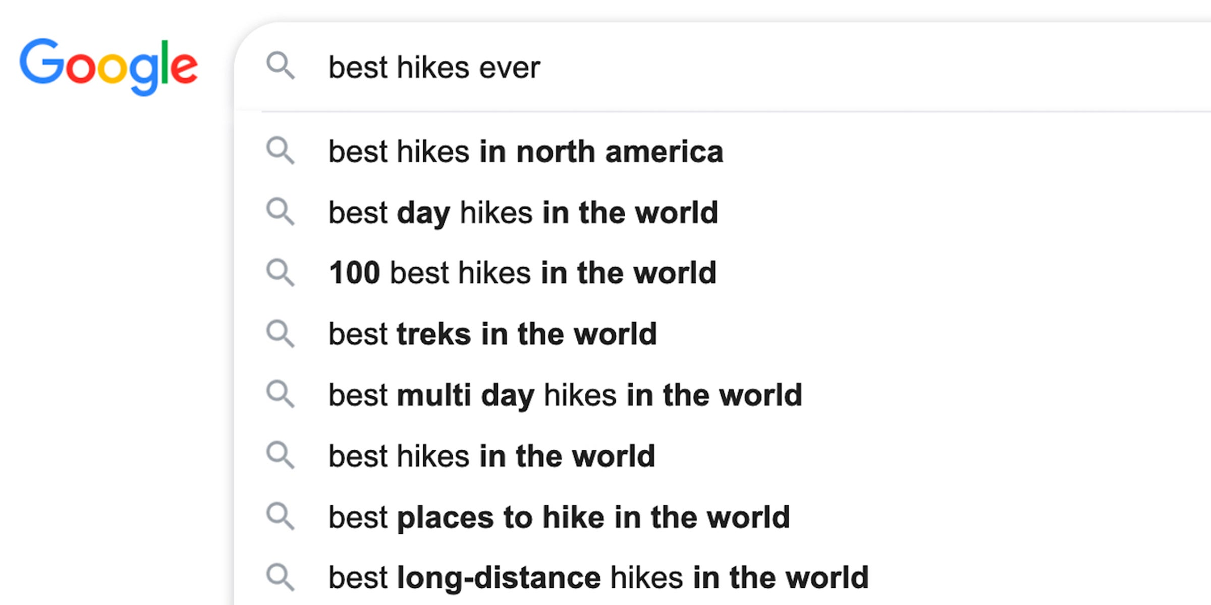 Best hikes ever Google search