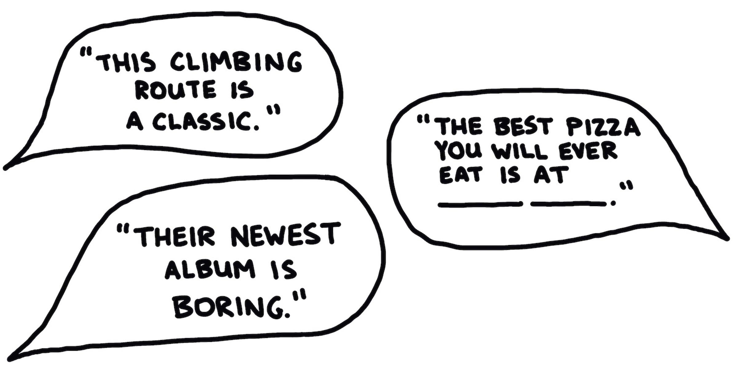 Cartoon bubble opinions
