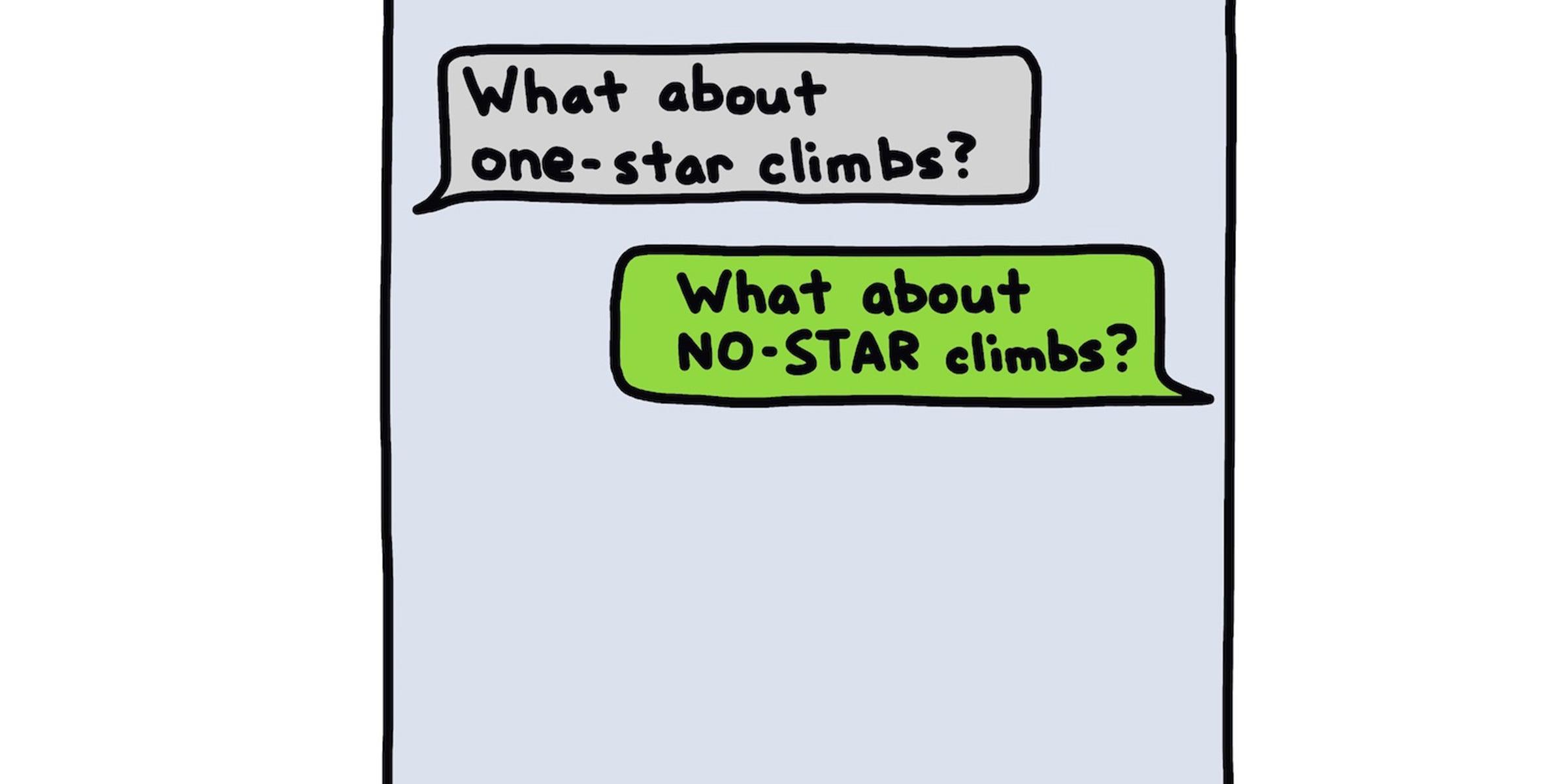 No star climbs text conversation