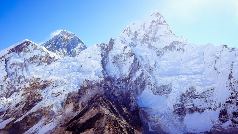 The beautiful landscape with the snow mountains including Mt. Everest and Mt. Lhotse from the peak of Kala Patthar in Himalayas, Nepal