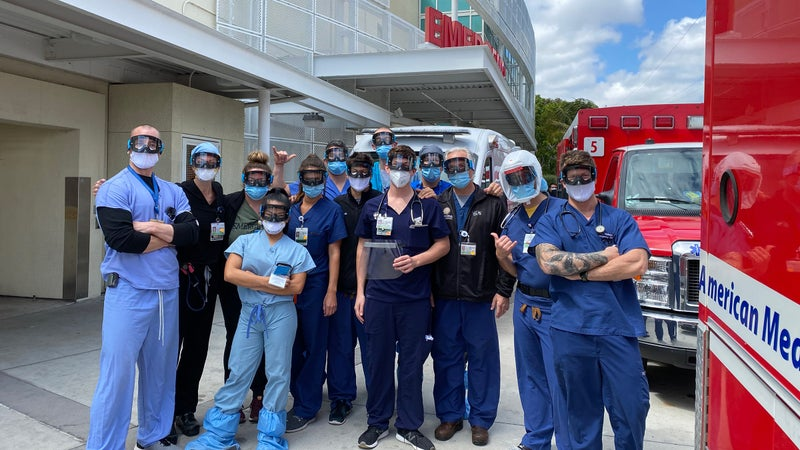 Doctors at UCSD Health in California wearing Goggles for Docs donations