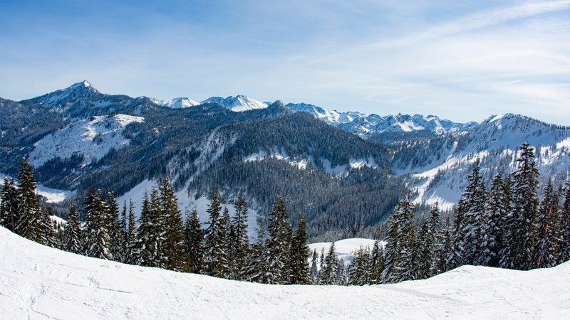 Stevens Pass Mountain Landscape Sunny Day Cascade Mountains