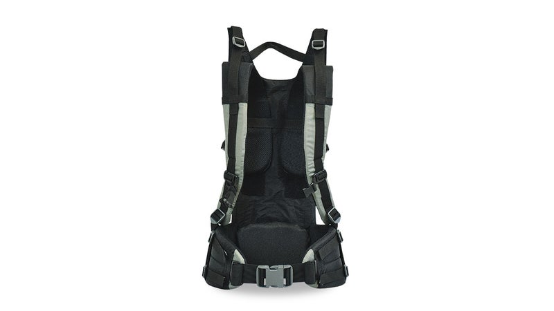Here you can see the huge hook-and-loop panels that attach the shoulder straps, the reconfigurable lumbar pad, and the two webbing straps that wrap each side of the hipbelt. All together, these features offer a massive degree of customization, allowing you to tailor the pack to your body's unique shape.