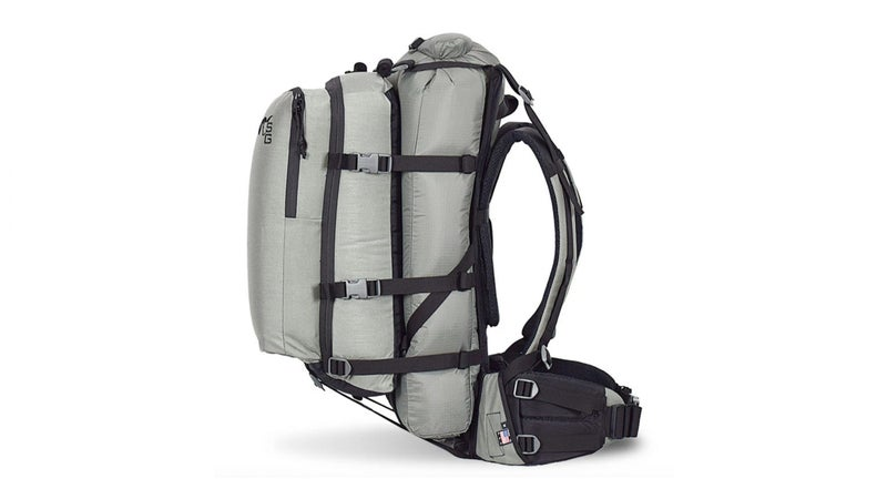 This is how I configure my pack for multi-day trips. Carrying my camping gear and food in a 41-liter drybag allows me to drop all that in camp and then carry on hunting, free of that weight. People looking for a truly ultralight load hauler could carry just that drybag in the frame's load shelf.