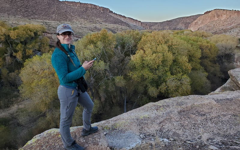 The author using eBird on an outing in New Mexico's Gila Lower Box Canyon