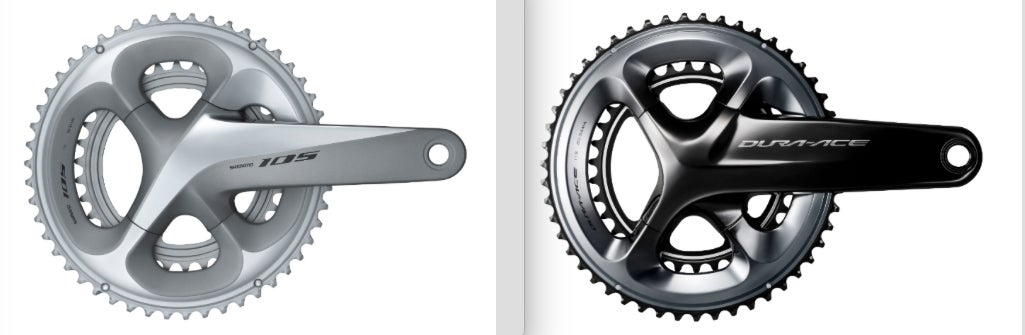 Note the family resemblance between Shimano's 105 (left) and Dura-Ace (right) cranksets. Differences? 63 grams, mostly in the large chainring, and three additional length options for Dura-Ace.