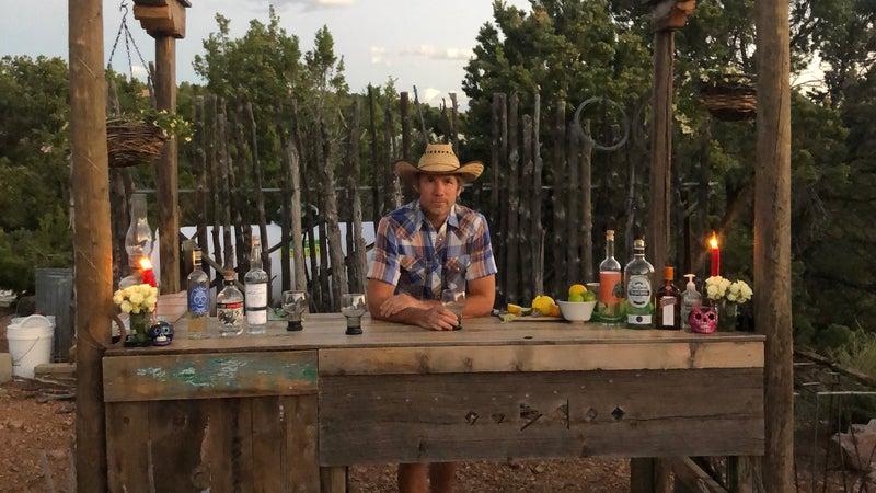 Nick Heil at his homemade bar
