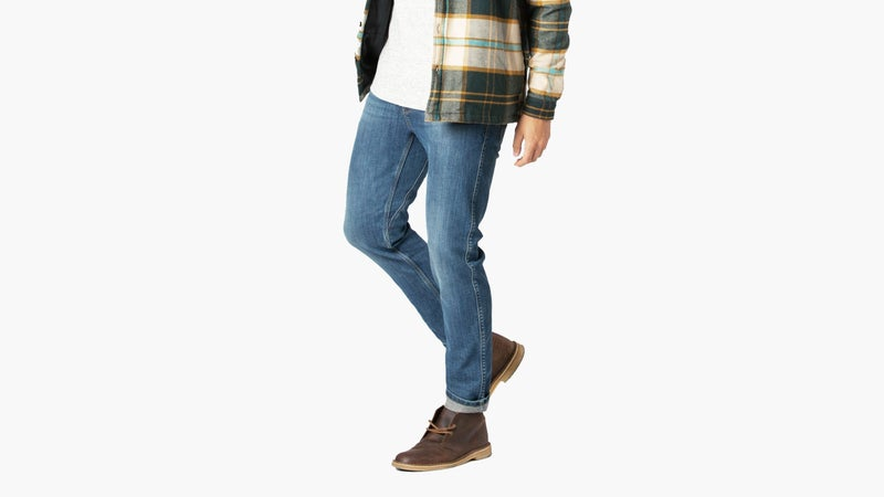 One of the best things about Duer is the wide range of available sizes. These are available in two different washes, for men and women, with multiple waist and inseam combinations.