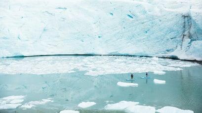 Paddleboarding a glacial fjord near Nimmo Bay Resort