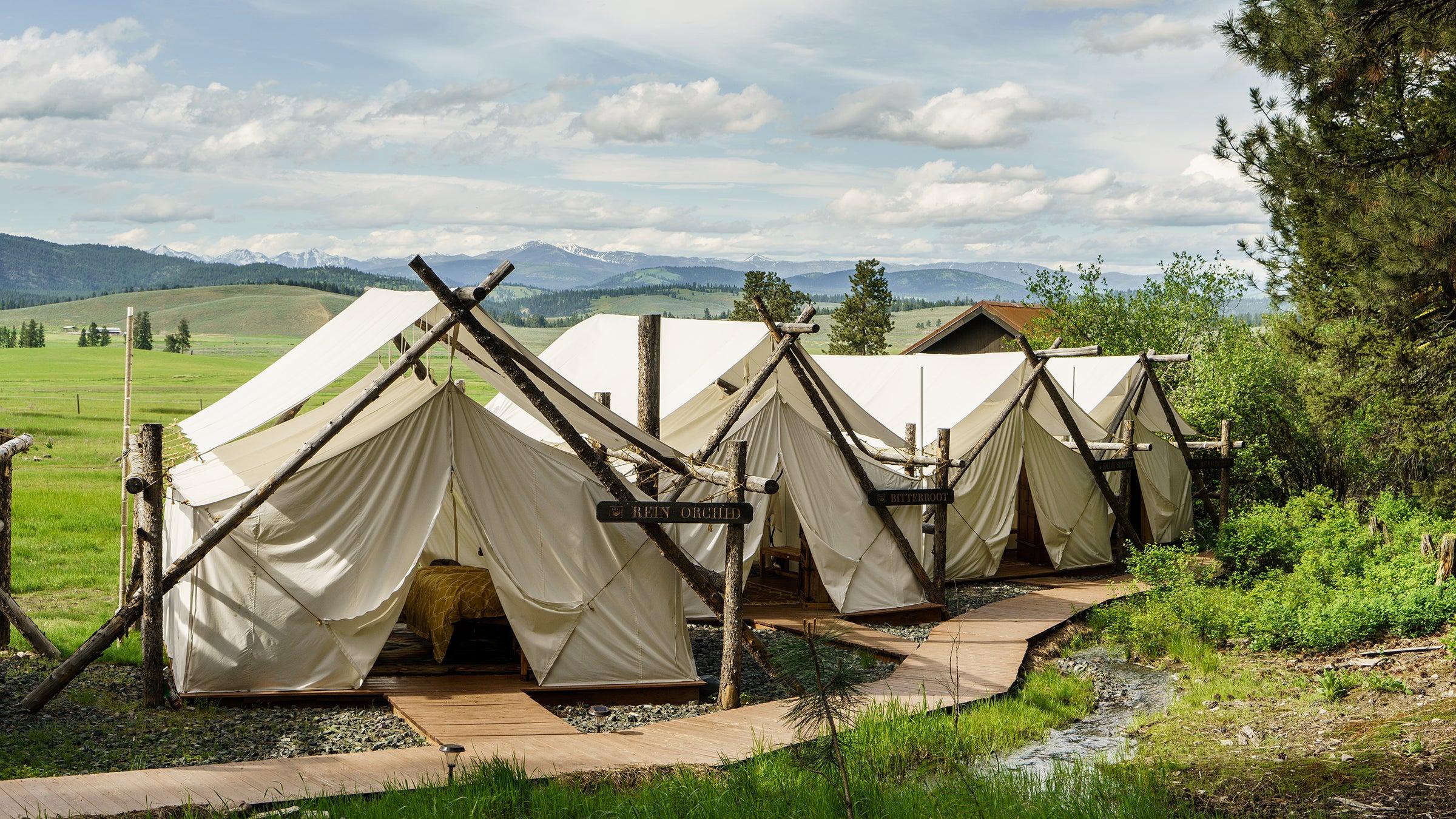 Glamping tents at the Resort at Paws Up
