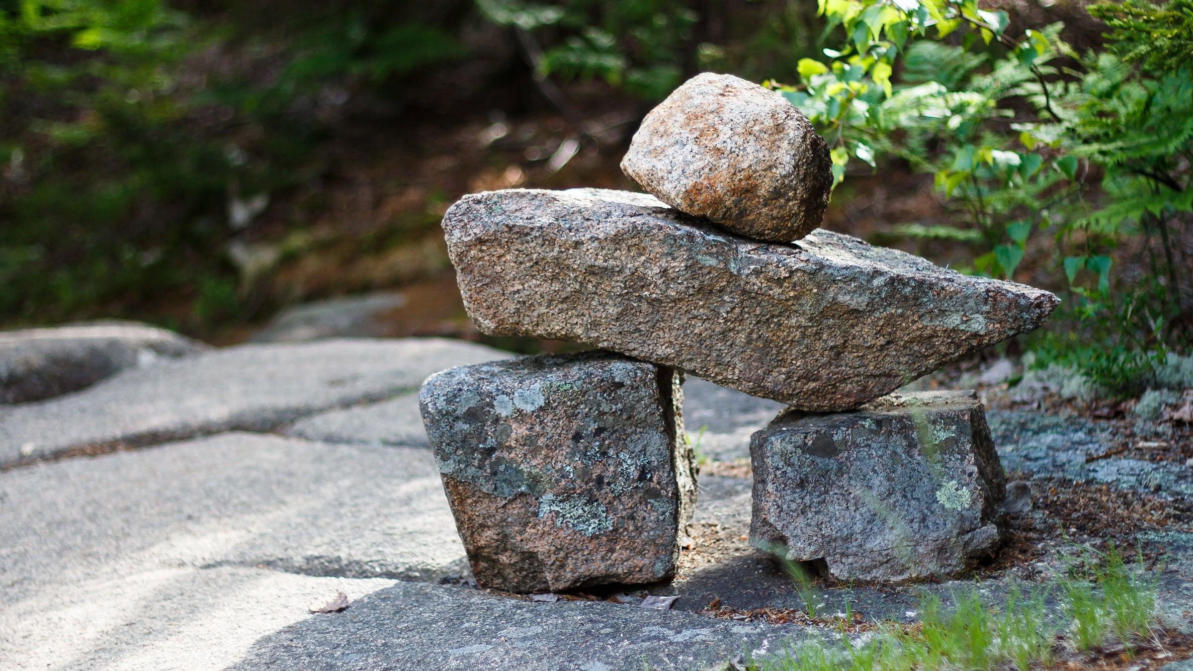 Cairn trail marker, Acadia National Park