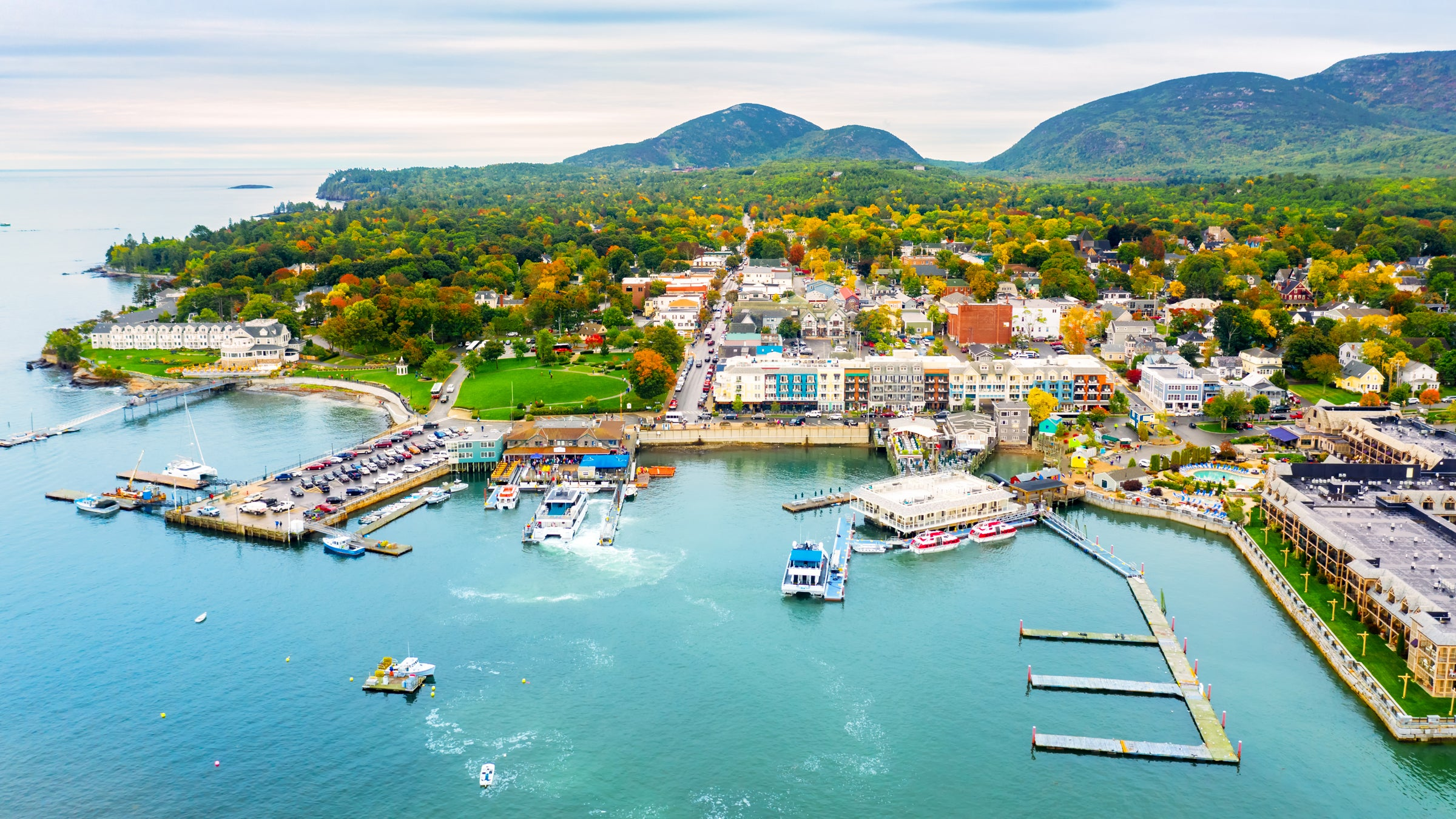Aerial view of Bar Harbor, Maine