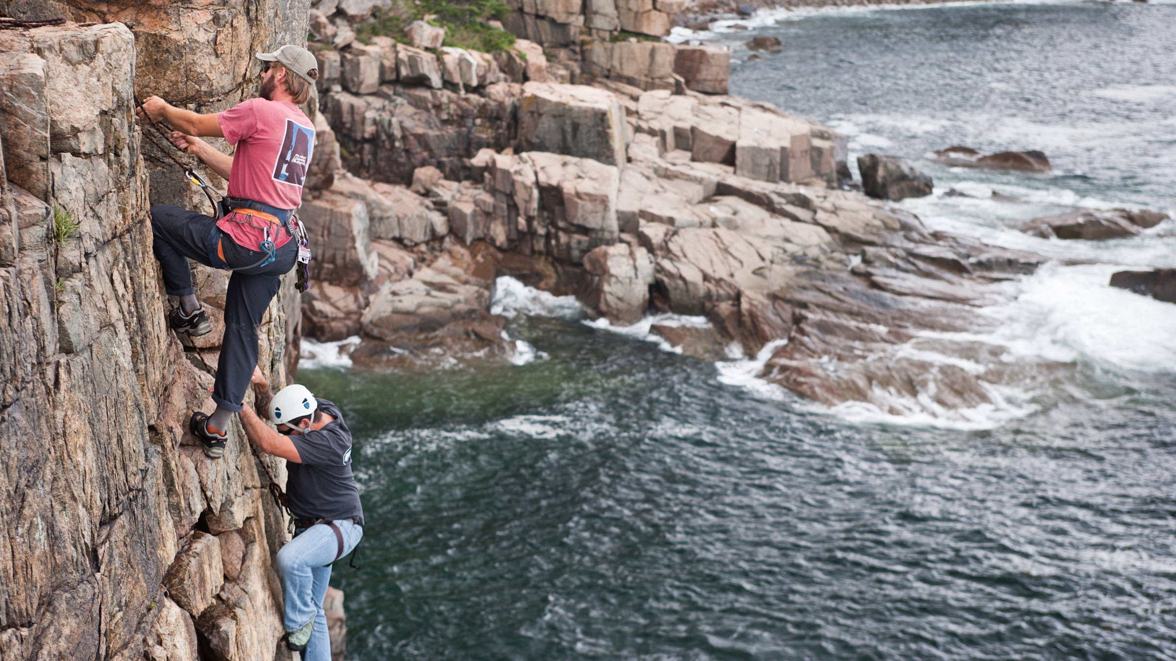 Wounded Warrior event rock climbing in Acadia National Park