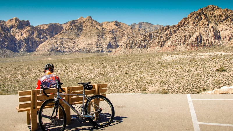 Cyclist resting in the Red Rock Canyon Conservation Area near Las Vegas