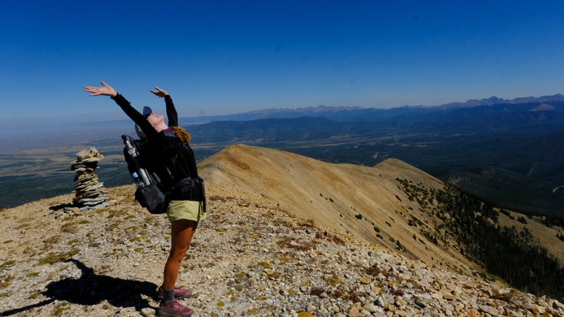 Aiden taking in the beauty near the top of Parkview Peak, Colorado