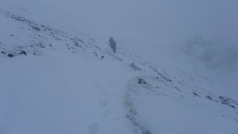 Henry and his cousin Silas heading up Arapahoe Pass, Colorado, into the whiteout