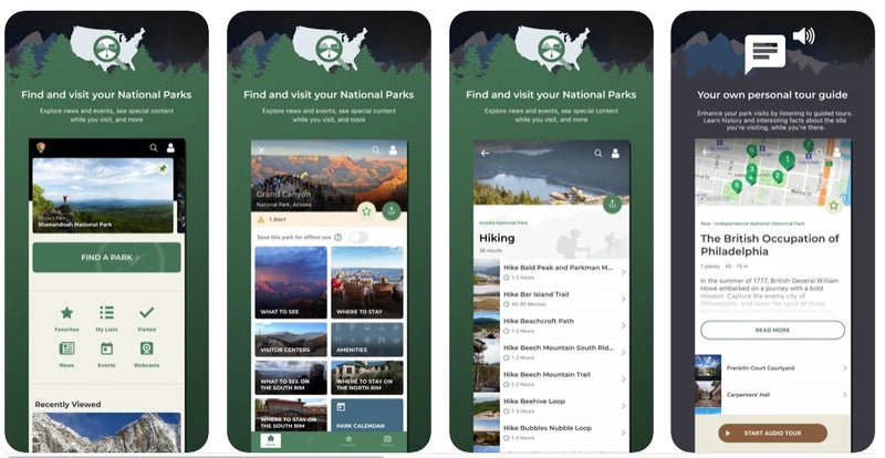 Access maps, bookmark trails, see park alerts, and more
