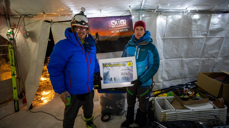 Ben Eck and Jerimy Arnold after completing the Last Skier Standing race in Jackson, New Hampshire