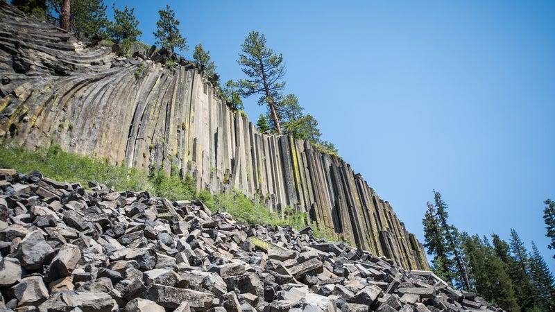 Devils Postpile National Monument in the summer, in the Eastern Sierra Nevada of California