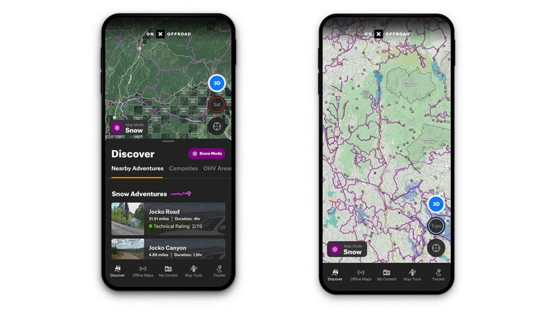 Snow Mode is a new feature within the OnX Offroad app.