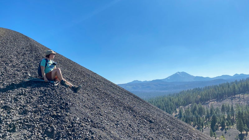 The hike to Cinder Cone looks out on 10,457-foot Lassen Peak in the distance