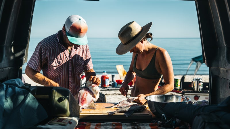 Cleaning fish on the tailgate on the Sea of Cortez